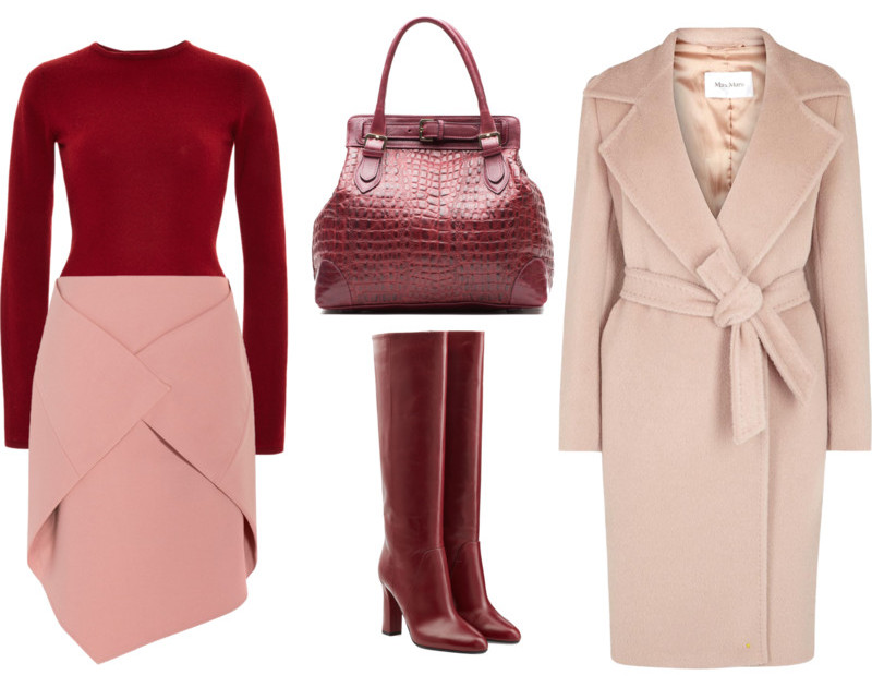 Burgundy Zac Posen top pink Tibi wrap skirt pink and burgundy outfit idea wearing combination