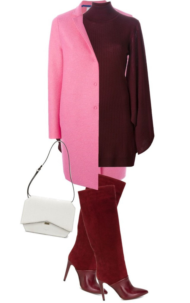 Burgundy dress pink coat burgundy boots white bag