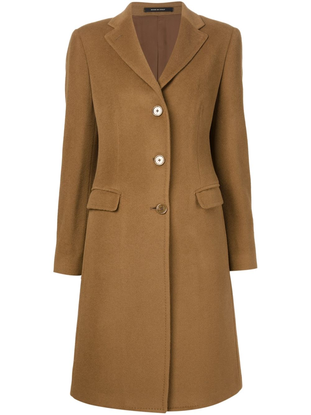 Camel coloured alpaca-wool blend classic overcoat from Tagliatore