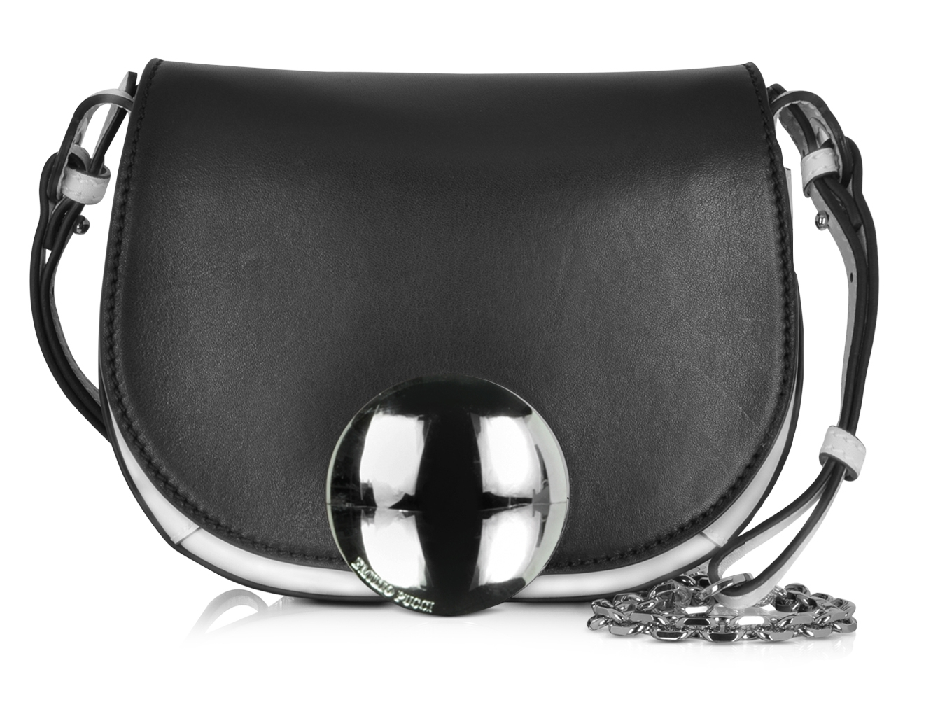 Emilio Pucci Mini Janis Black Ivory Leather Shoulder Bag - How to wear a V Neck Cashmere Sweater