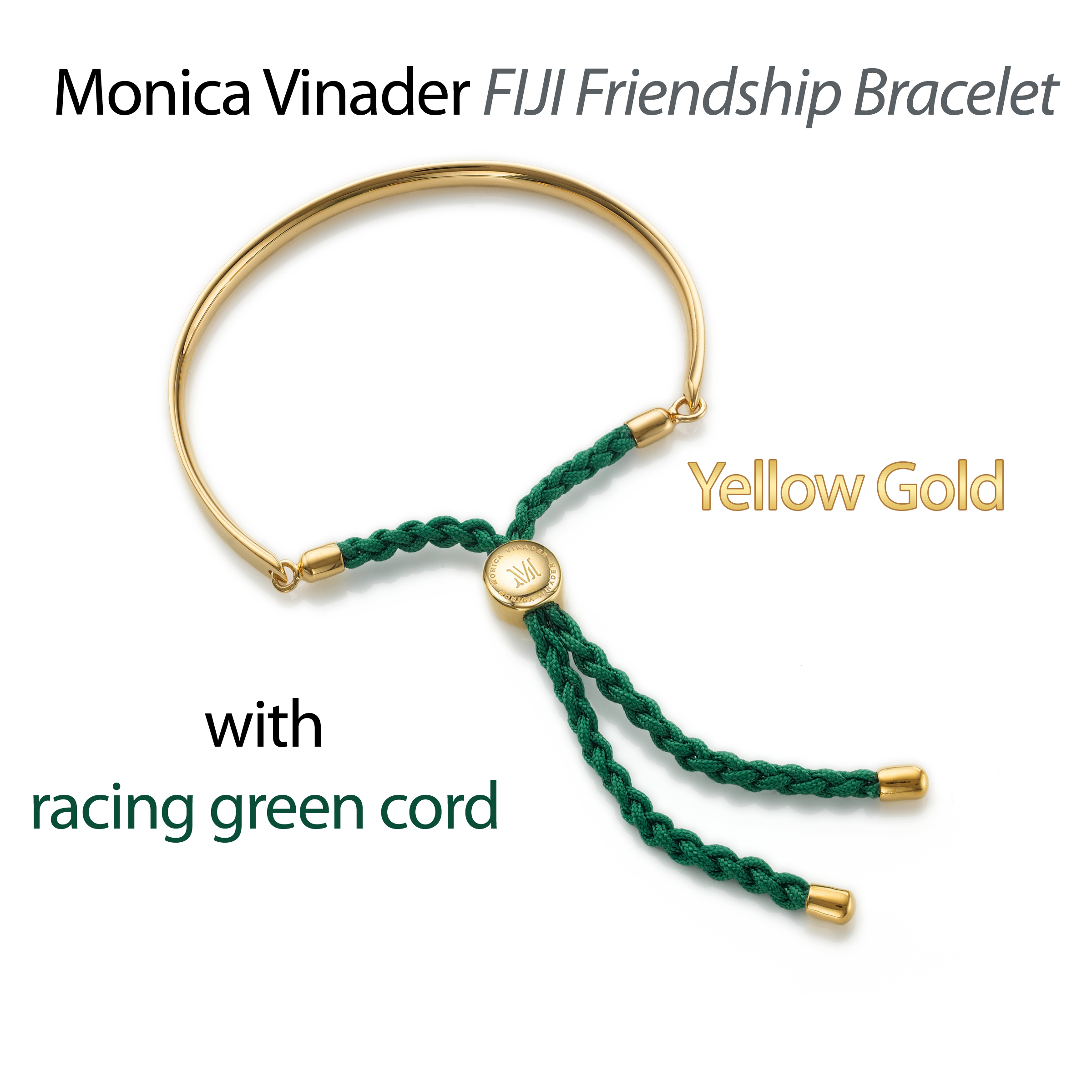 Monica Vinader Fiji friendship bracelet yellow gold with racing green cord