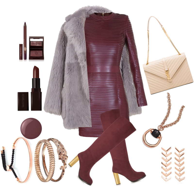 Monica Vinader fiji friendship bracelet with Balmain burgundy leather dress Tibi fur coat Stella McCartney boots Saint laurent bag