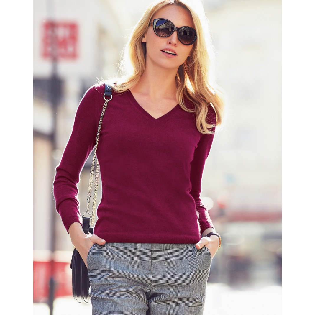 Pure Collection V Neck Cashmere Sweater with product code LK-T47 model wearing redberry