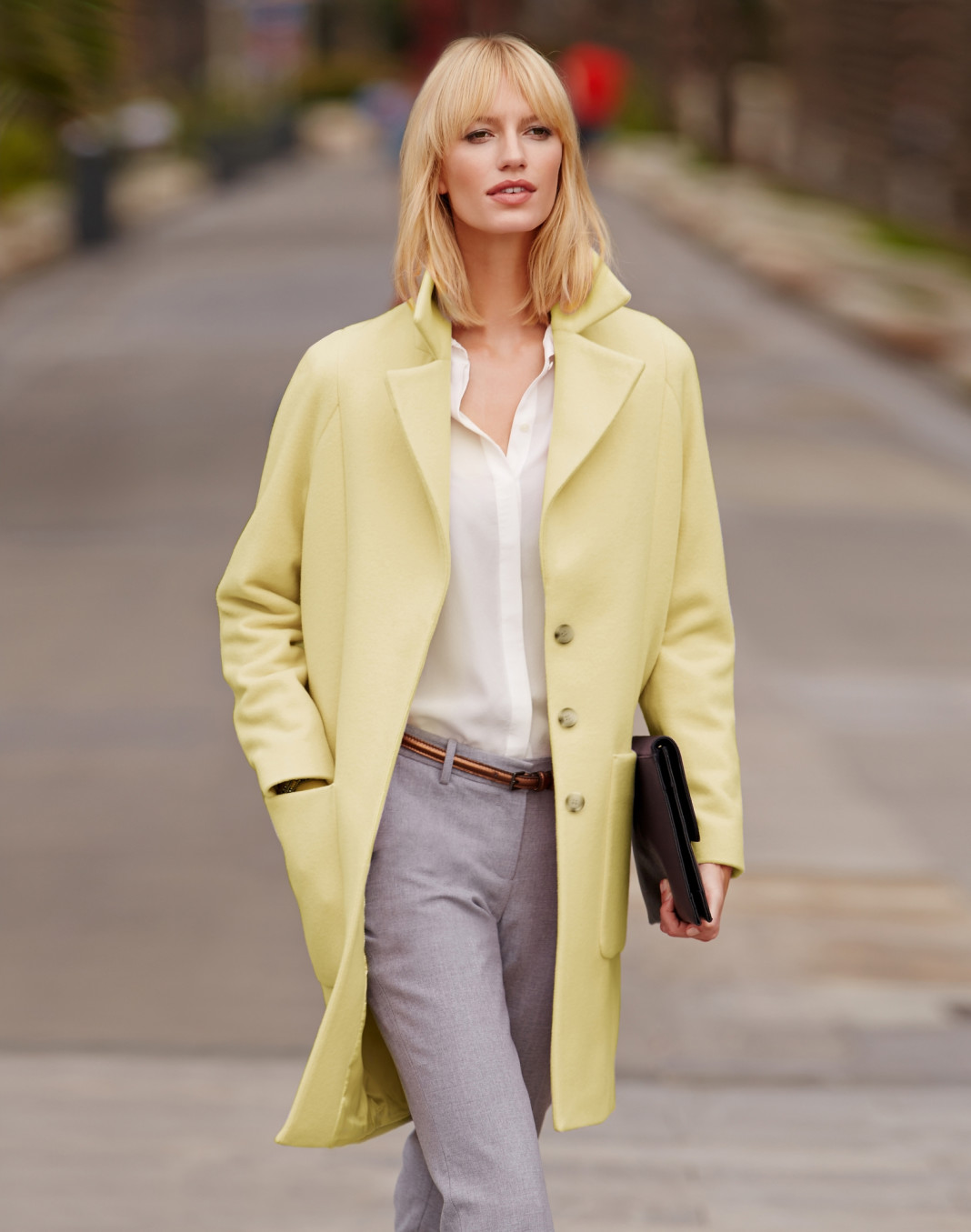 Wearing yellow Pure Collection Cashmere Blend Coat