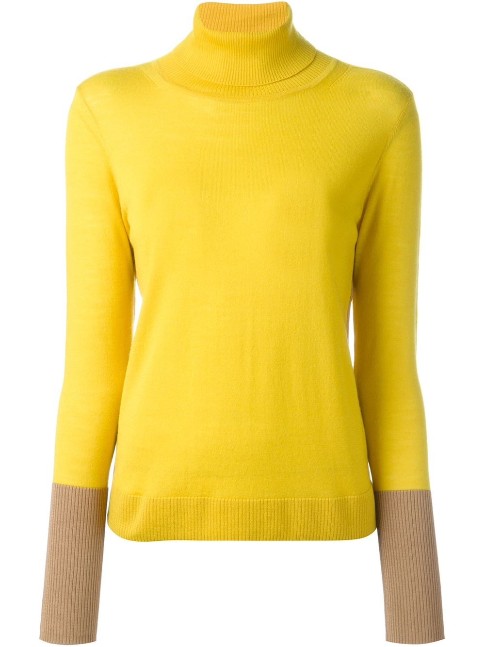 Yellow stretch merino wool blend colour block turtleneck sweater from Rag and Bone