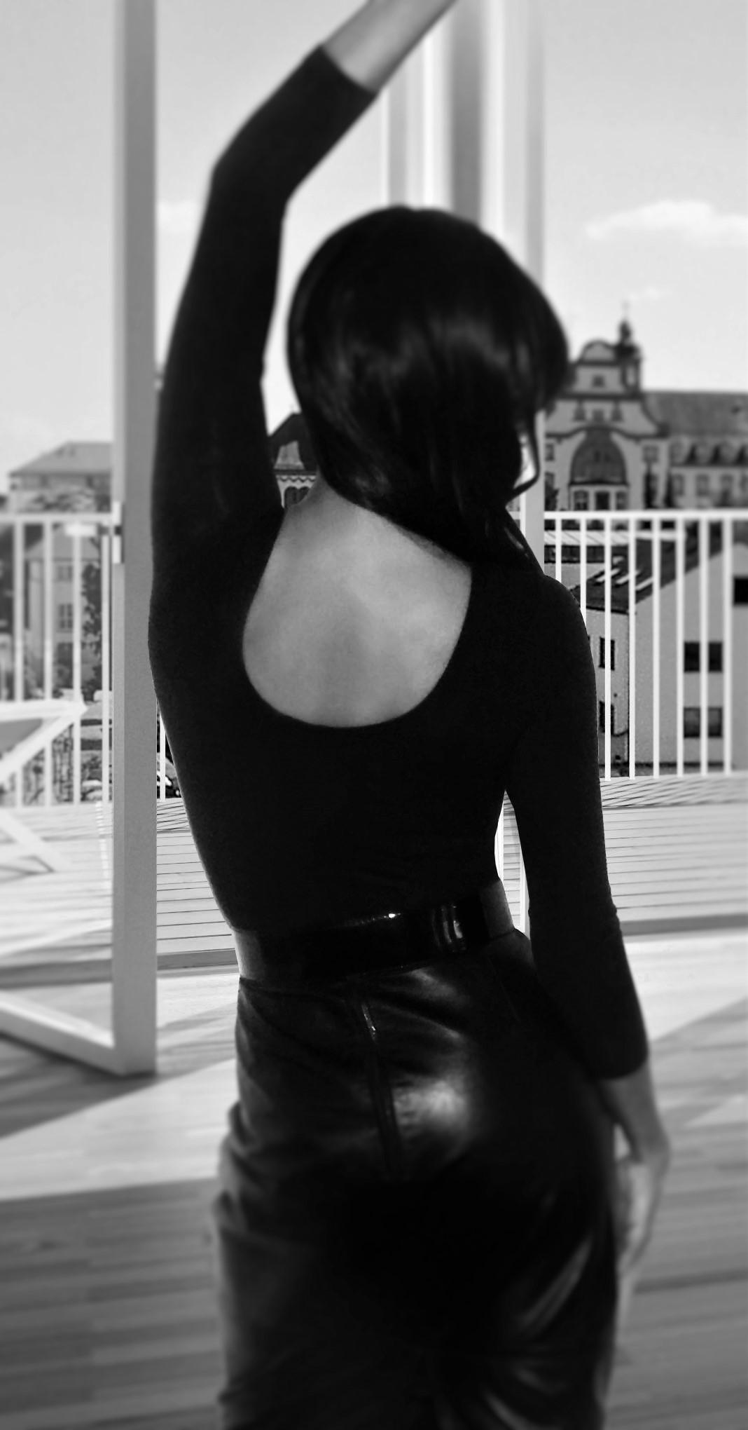 black skirt with black bodysuit 2 bw