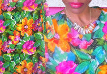 green pink orange purple floral silk top