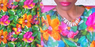 green pink orange purple floral silk top