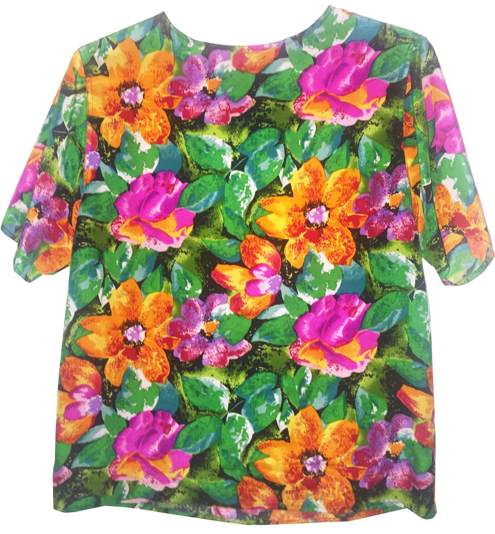 purple pink orange green floral silk blouse