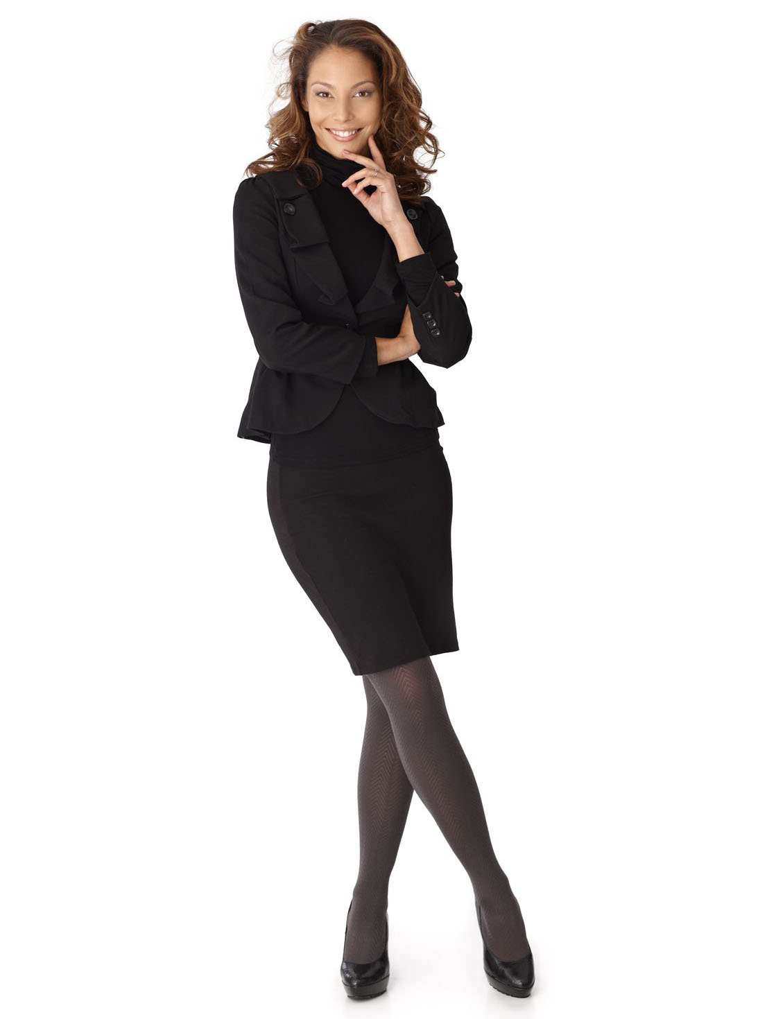 woman wearing all black outfit office work suit jacket skirt tights pumps