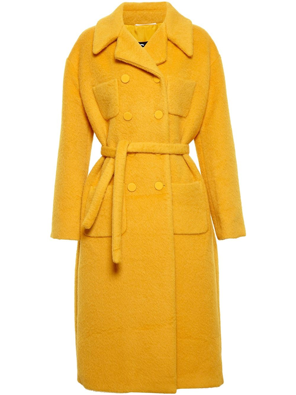 yellow Rochas alpaca-wool blend coat