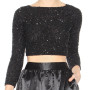 Alice plus Olivia Lacey black glittering beads and sequins embellished cropped top