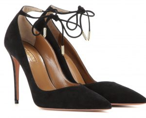 Aquazzura Allure 105 suede pumps with pointed toe stiletto heel and ankle tie laces 695 dollars