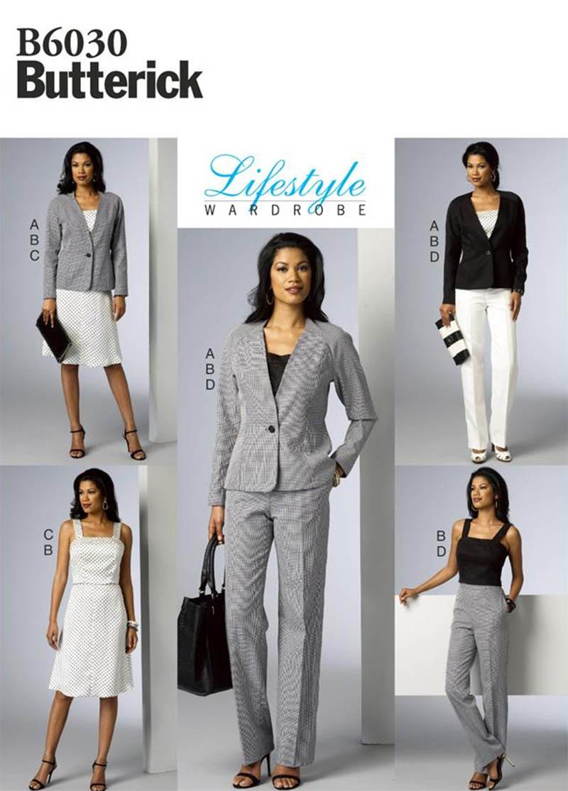 B6930 Butterick lifestyle wardrobe suit jacket pants skirt pattern