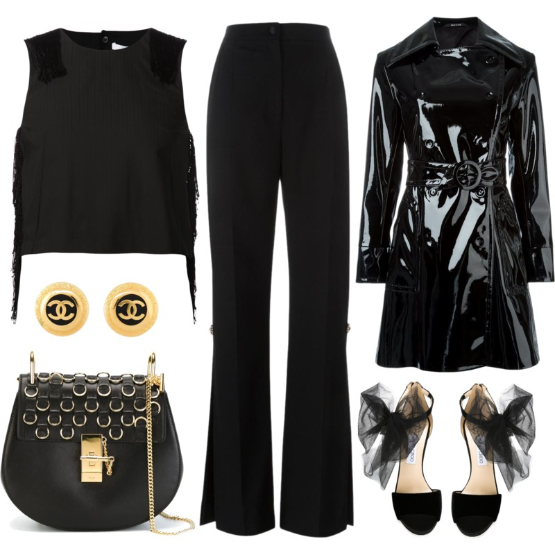 Black Derek Lam 10 Crosby fringe detail tank top Dolce and Gabbana side slit pants Jimmy Choo Lilyth sandals