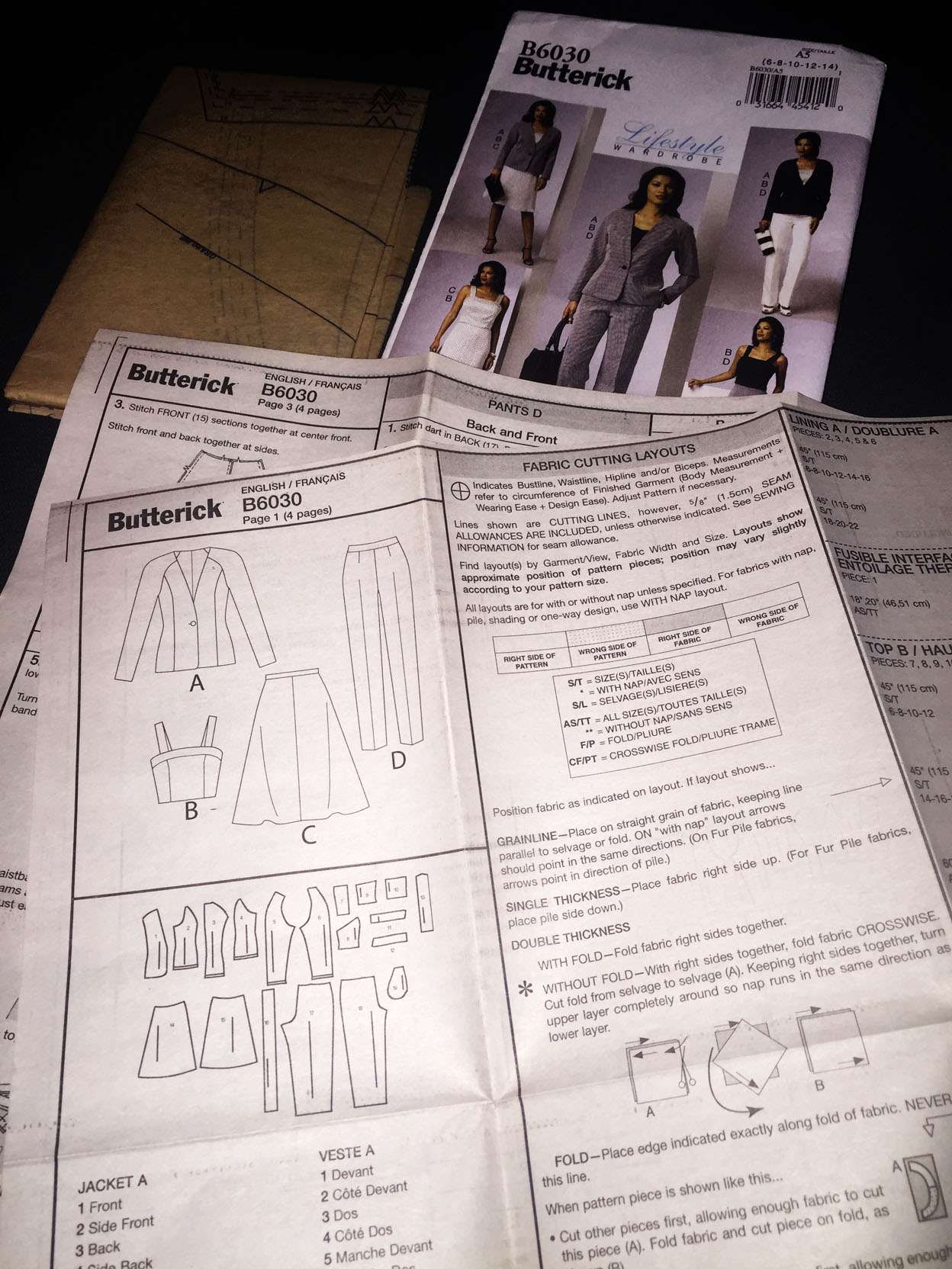 Butterick B6030 misses jacket top skirt and pants pattern