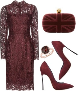 Dolce and Gabbana eggplant dark purple viola medio floral lace dress