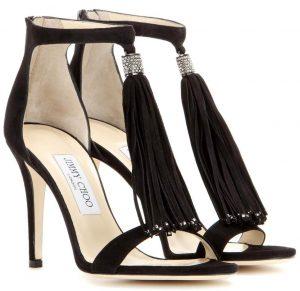 Jimmy Choo Viola 100 crystal embellished tassel suede sandals 975 dollars