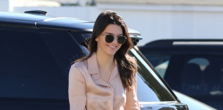 Kendall Jenner & Hailey Baldwin go on a shopping spree together - Kendall wearing Monica Vinader Alphabet pendant in letter 'K'