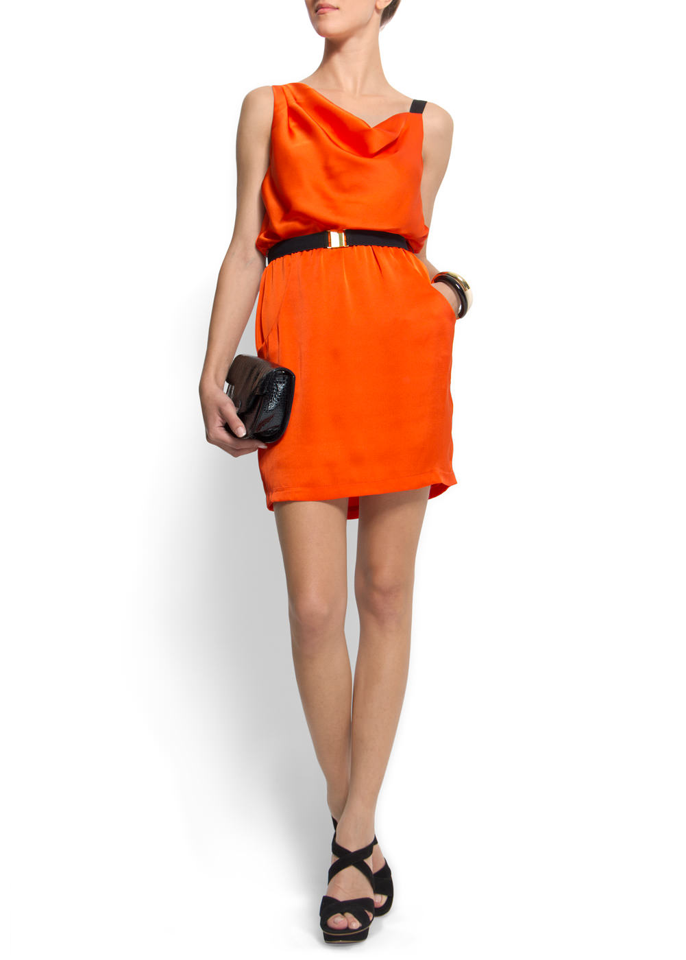 Mango bright orange tangerine draped detail dress