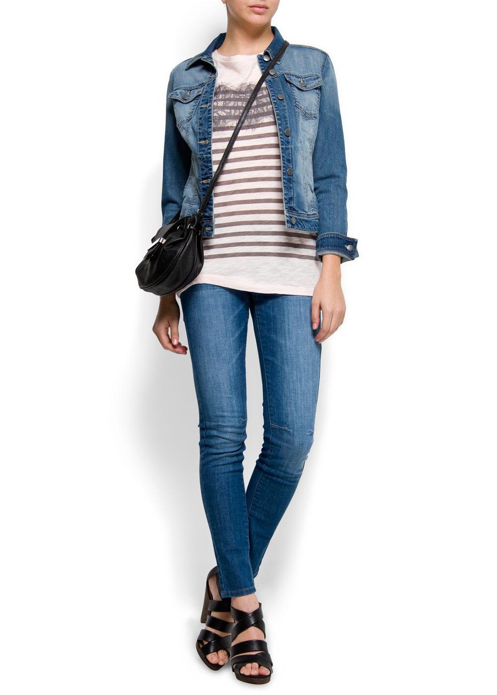 Mango elastic waist stretch skinny jeans