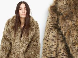 Mango medium brown leopard faux fur coat