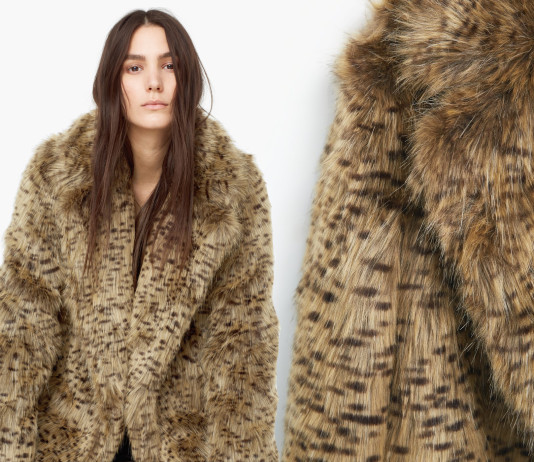 Mango medium brown leopard faux fur coat