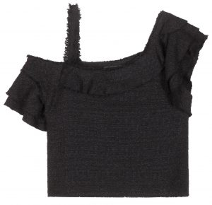 Proenza Schouler tweed crop top with ruffled asymmetrical sleeves for a drop-shoulder look 1150 dollars
