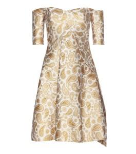 Stella McCartney antique gold metallic off-the-shoulder jacquard dress 3670 dollars