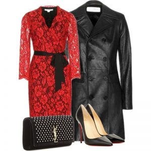 Styling your Diane von Furstenberg Julianna red lace dress with black So kate Louboutin pumps Saint Laurent leather coat clutch purse