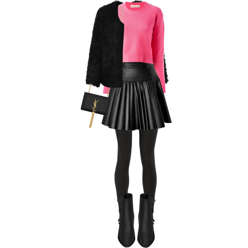 The Row black leggings black leather pleated David Koma skirt pink Marni crew neck sweater - pink and black sunday