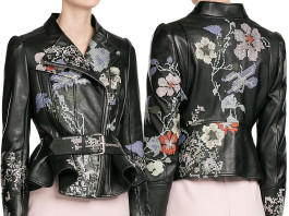 Alexander McQueen Leather Jacket with Cross Stitch Embroidery