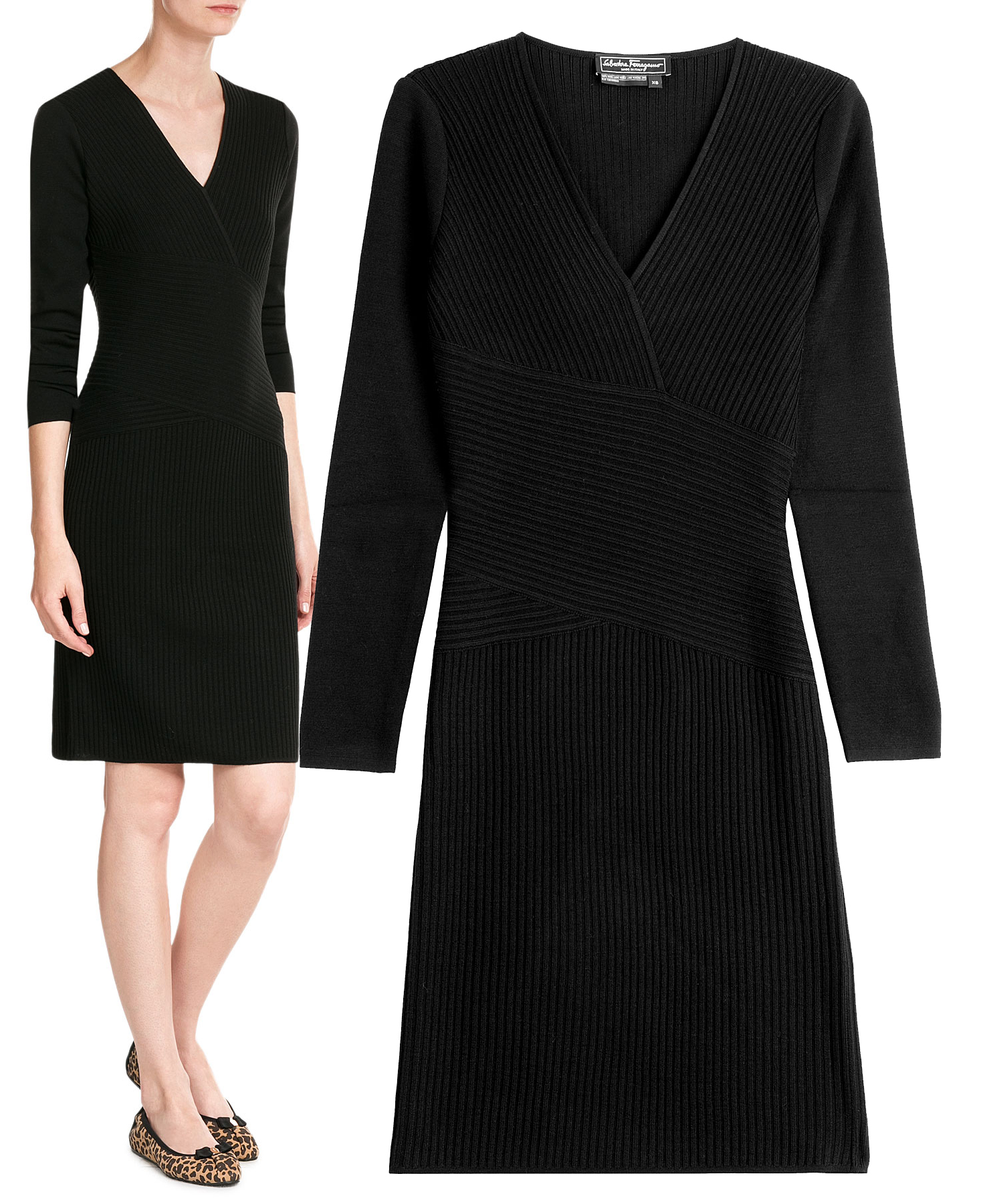 Black Salvatore Ferragamo dress ribbed sweater dress