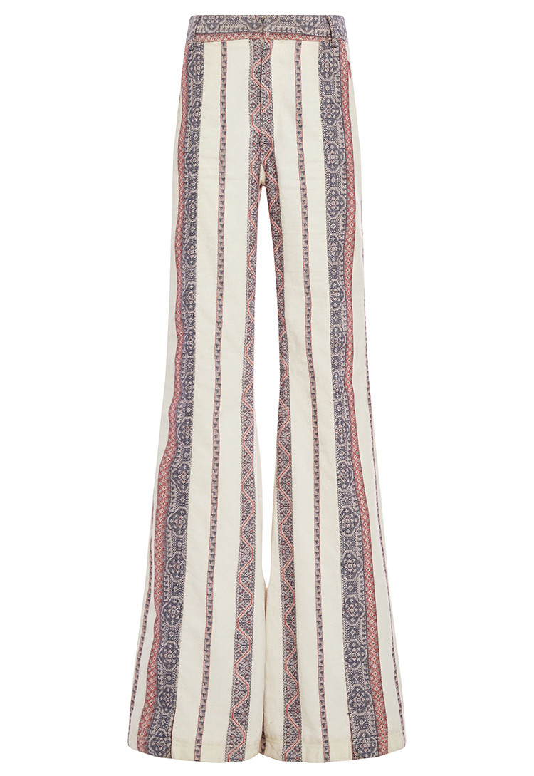 Derek Lam 10 Crosby Cotton Linen Patterned Flared Pants