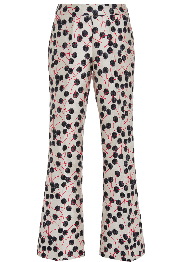 Giamba Cherry Jacquard Flared Pants