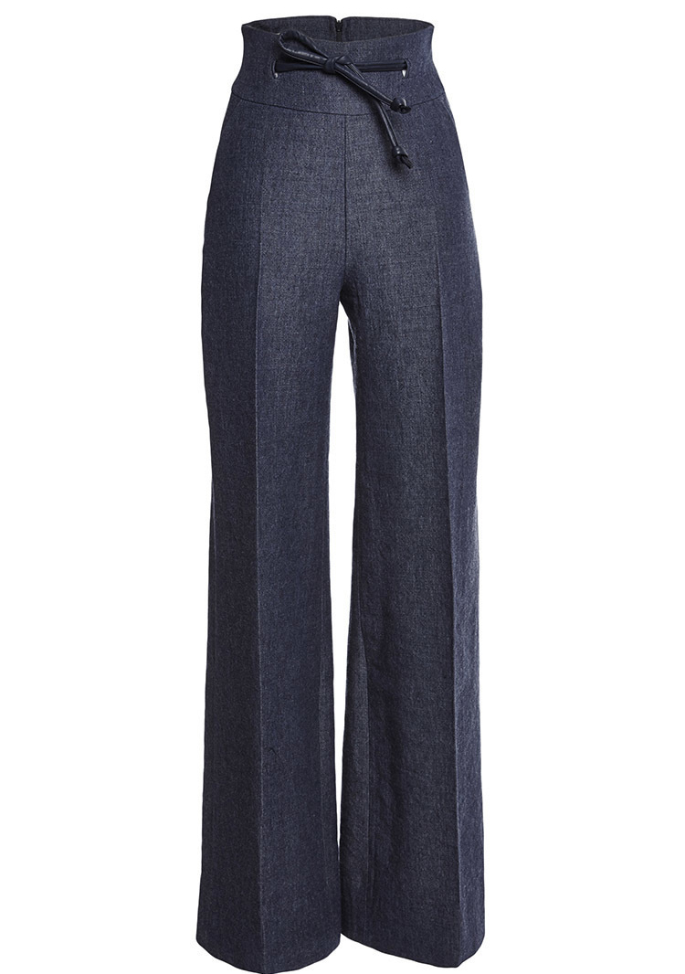 Martin Grant high waisted Linen wool pants eide legged denim trousers with leather tie embellishment