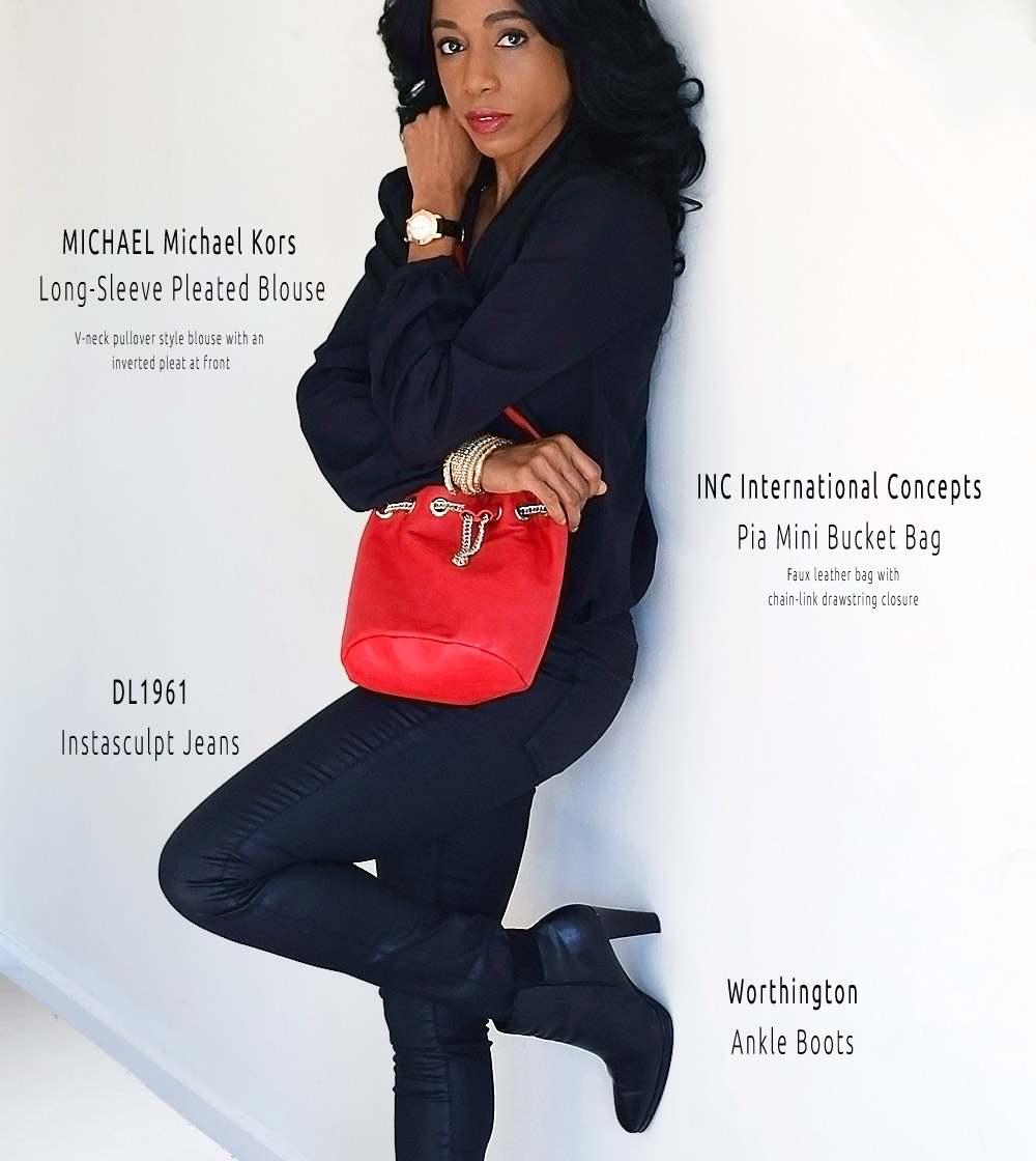 Michael Michael Kors black blouse DL1961 jeans Inc International Concepts bucket bag - Thursday January 14th Photo Session