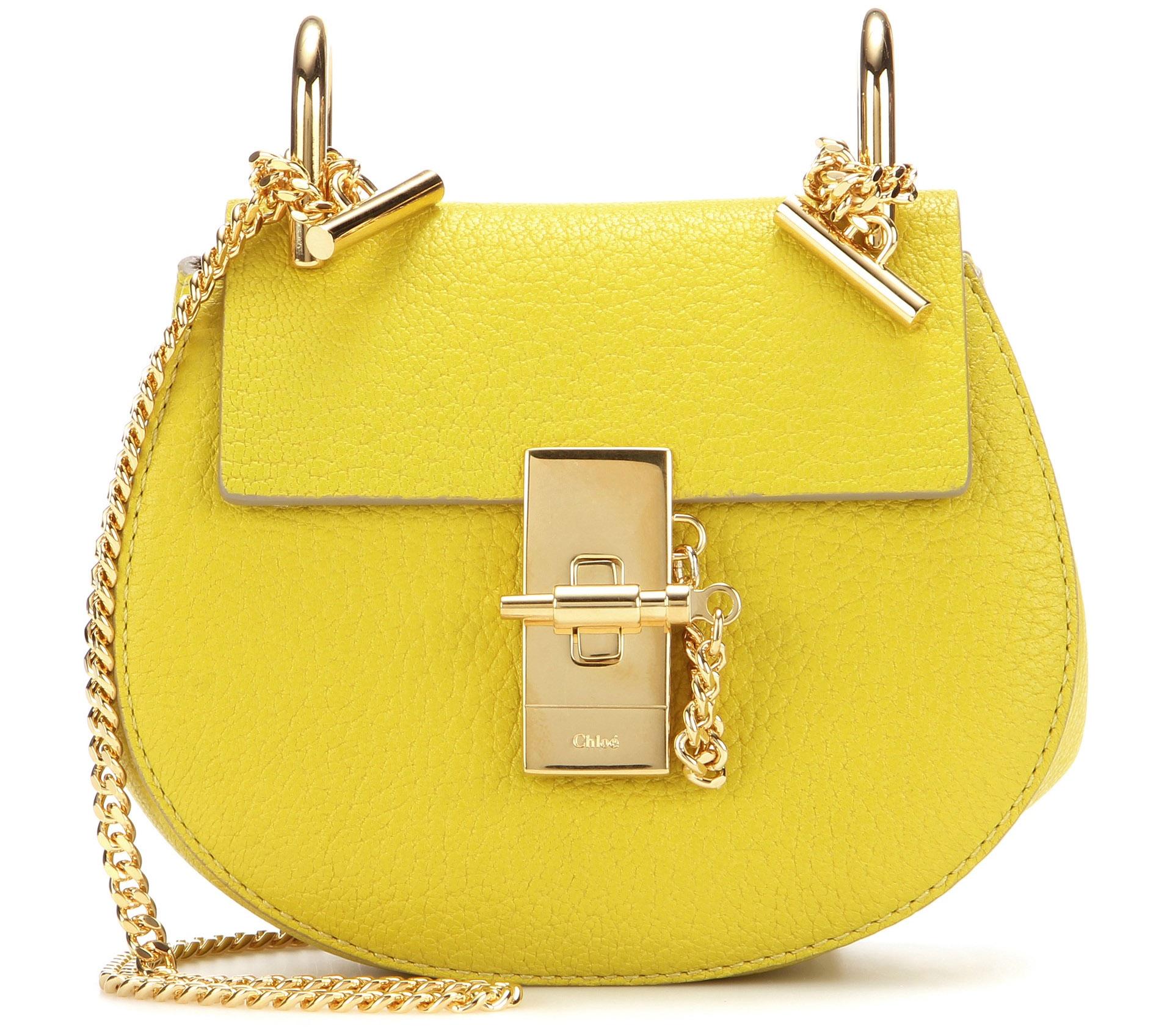 Yellow Chloe Drew bag - Yellow Chloe Nano Drew leather shoulder bag