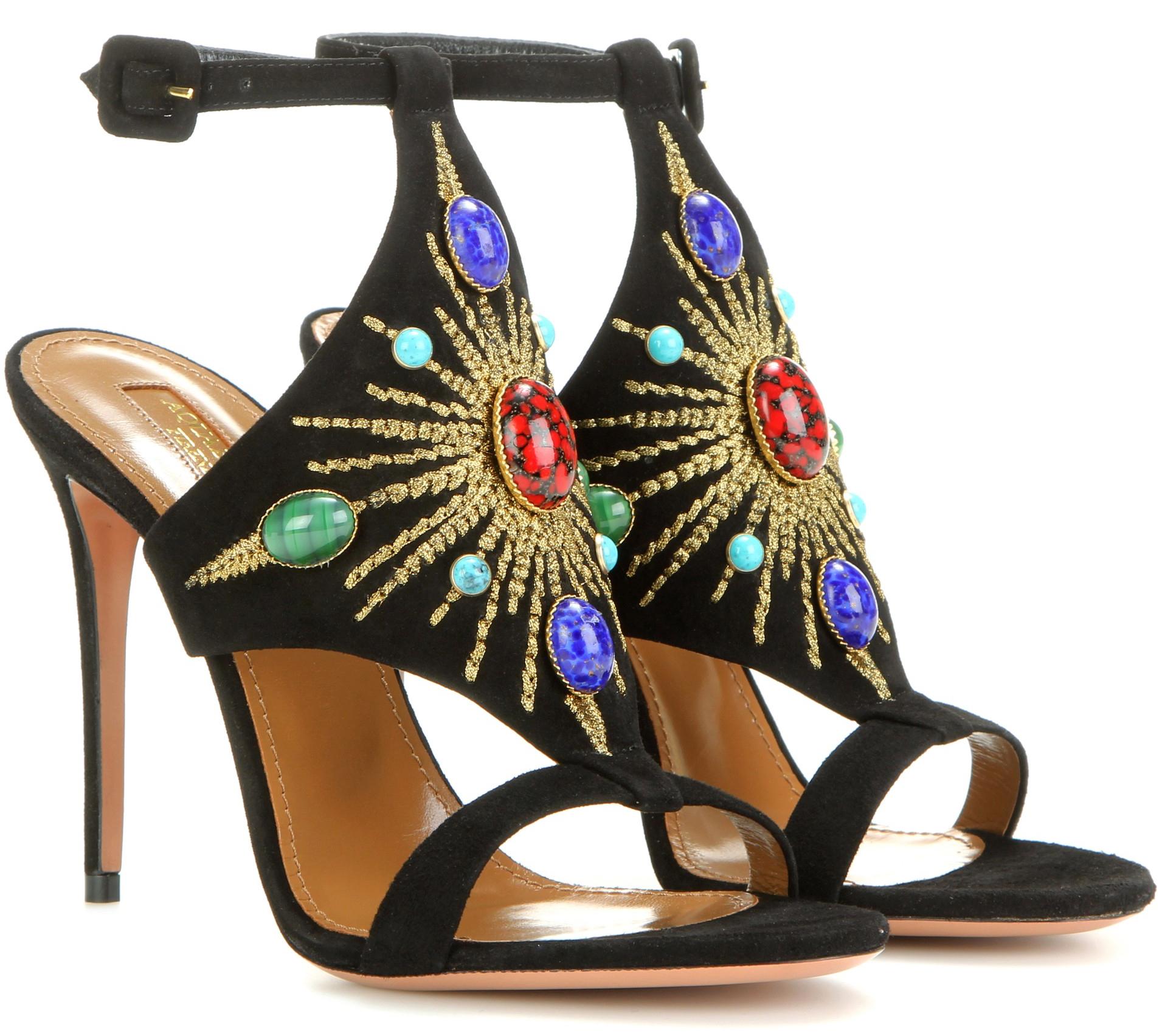 Aquazzura Desert Sun 105 embellished suede sandals