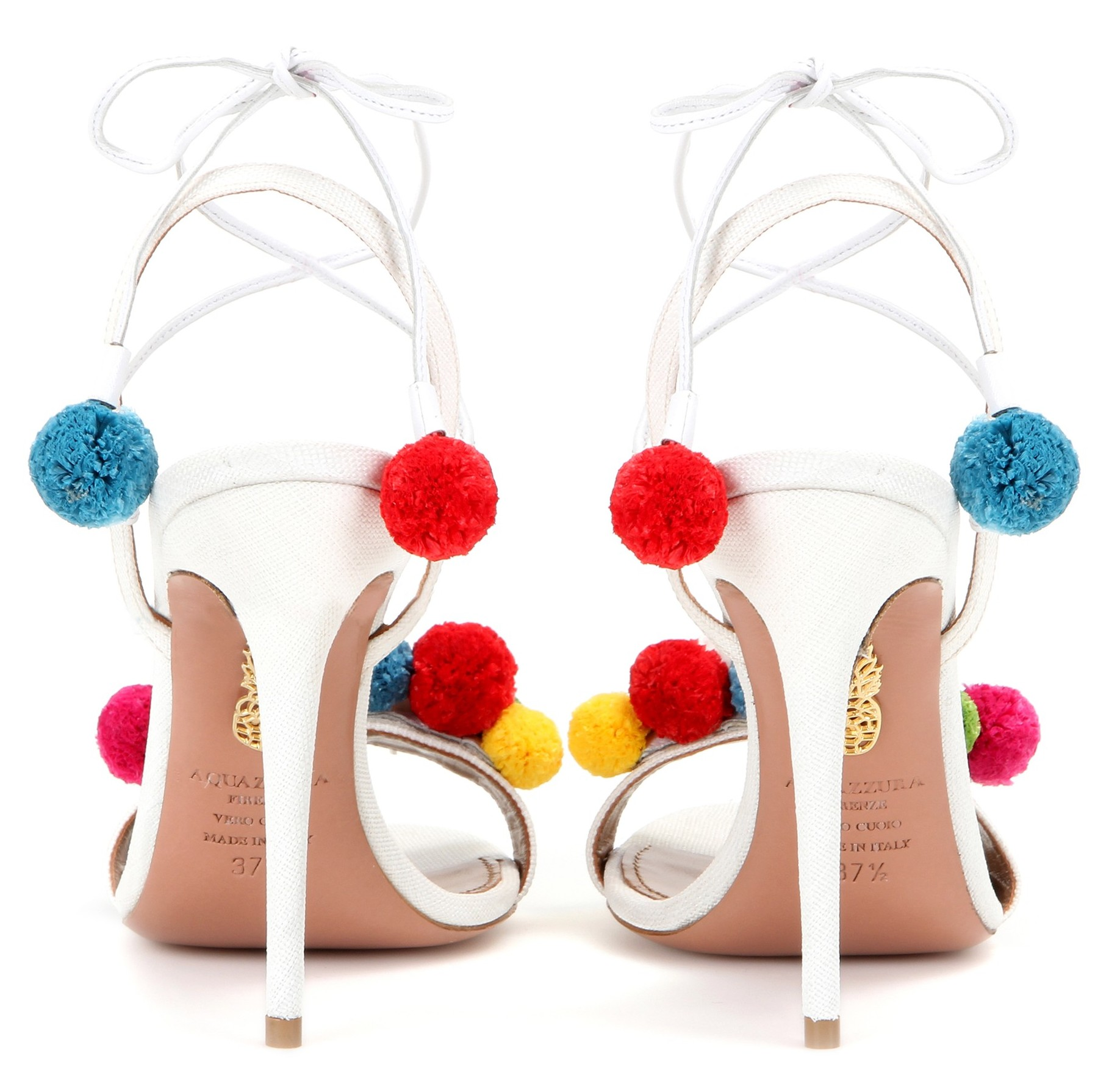 Aquazzura Pon Pon 105 raffia and leather sandals