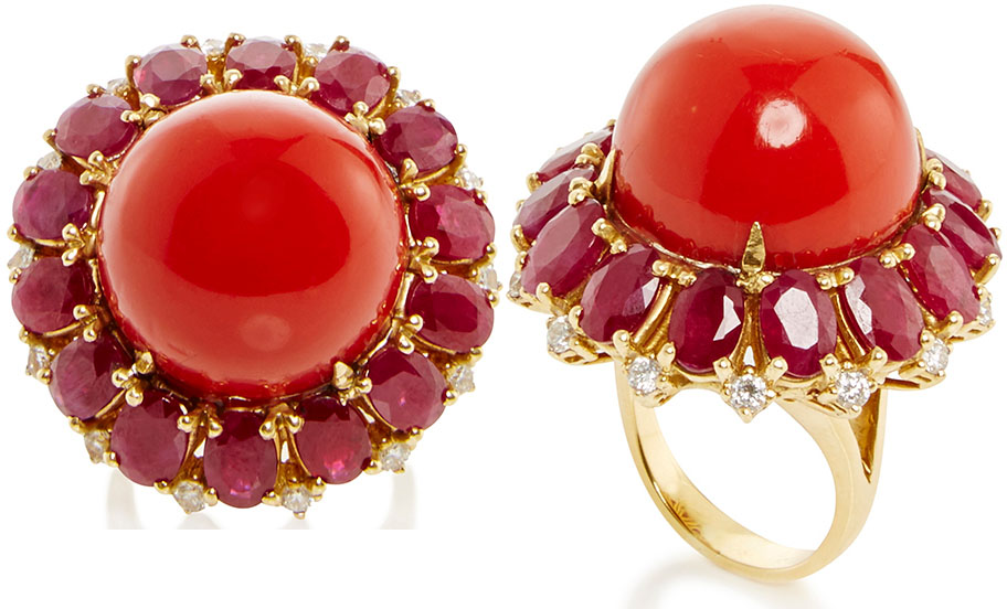 Fruzsina Keehn Red Coral And Ruby Ring