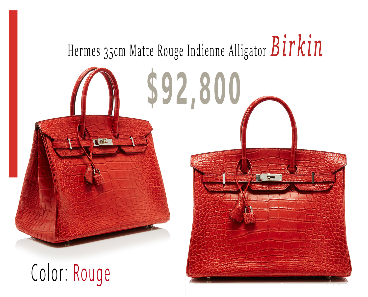 Hermes 35cm Matte Rouge Indienne Alligator Birkin 92800