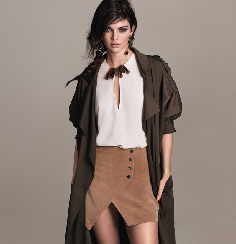 Kendall Jenner Mango blouse skirt trench coat earrings