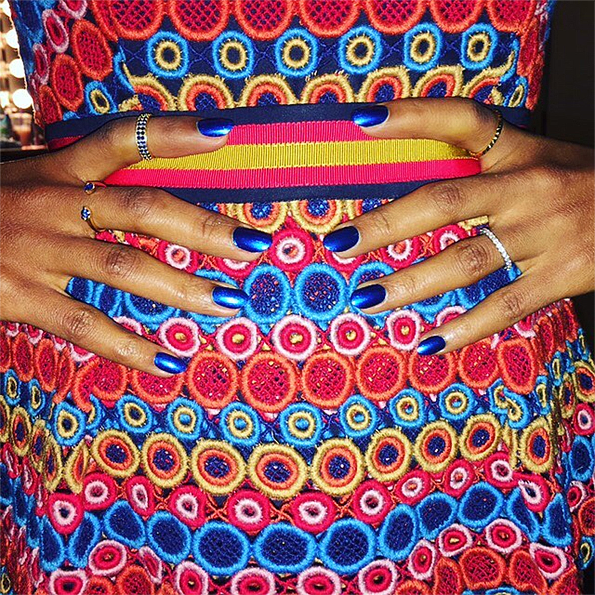 Color Inspiration - Kerry Washington colorful embroidery print dress blue nails opi manicure jimmy kimmel bg