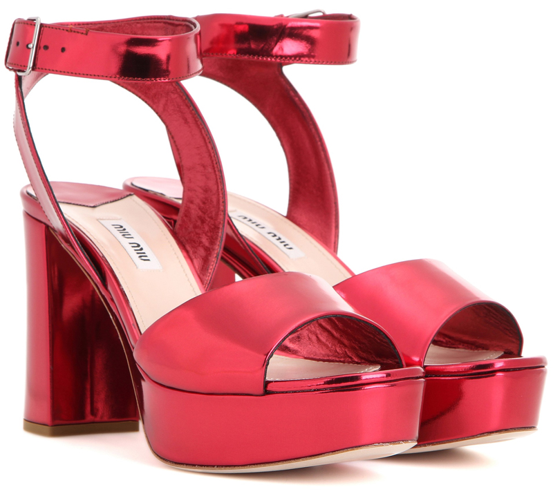 Miu Miu red Metallic leather platform sandals