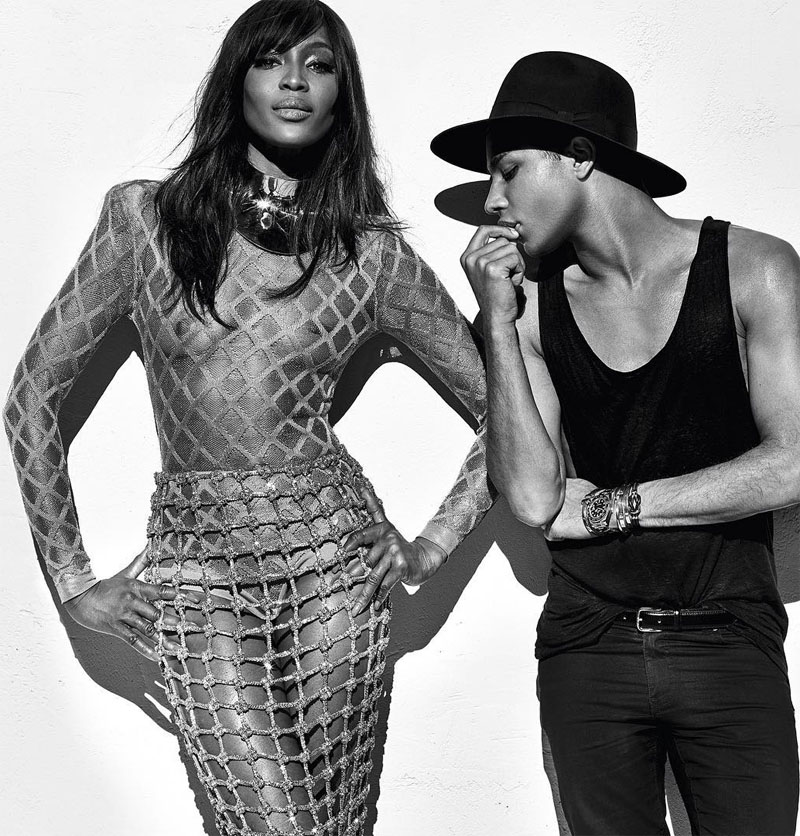Naomi campbell Olivier Rousteing shot by Steven Klein Balmain SS16 behind the scenes - image via @balmainparis on Instagram