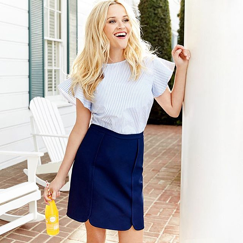 Reese Witherspoon Draper hames navy skirt blue white striped blouse - Image via @reesewitherspoon on Instagram