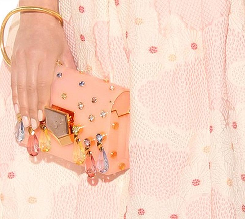 Crystal embellished pink Jimmy Choo clutch