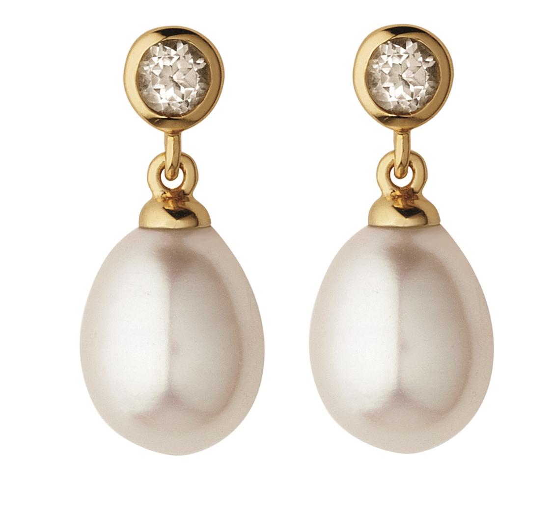 Links London white topaz pearl drop earrings