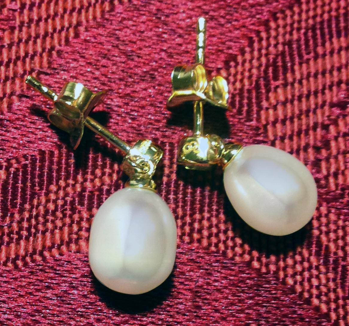 Links of London white topaz pearl drop earrings